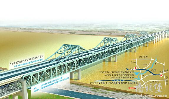 """石济客专黄河大桥位置示意图   石济客专济南黄河公铁两用特大桥将建成啥样?23日,记者探访了石济客专济南黄河公铁两用特大桥的建设现场,为您首次呈现该桥建成后的样子。据了解,按照计划,2016年年初,这座桥将开始铁路铺设,2017年下半年将正式投入运营。首次亮相 钢桁梁就像""""振翅海鸥""""   新建济南至石家庄铁路客运专线工程自开工时就备受关注,不仅因为铁路快速专线建成后将缩短济南至石家庄火车运行时间,由现有的4个小时缩短至1小时20分钟左右,还因为沿线将建设一座""""高大上&qu"""